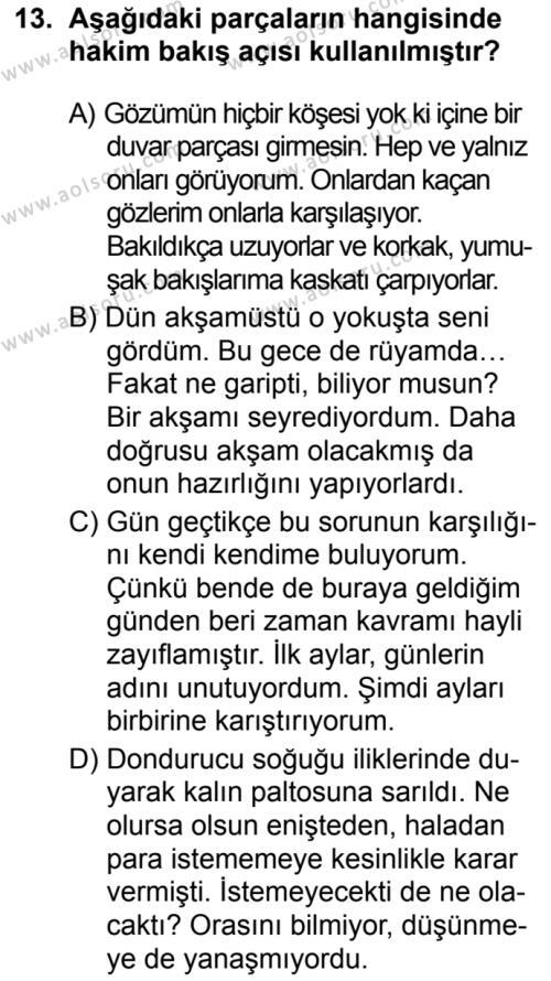 Seçmeli Türk Dili ve Edebiyatı 2 Dersi 2019-2020 Yılı 1. Dönem Sınavı 13. Soru
