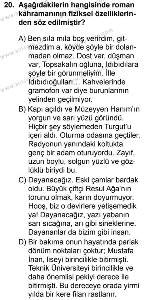 Seçmeli Türk Dili ve Edebiyatı 2 Dersi 2019-2020 Yılı 1. Dönem Sınavı 20. Soru