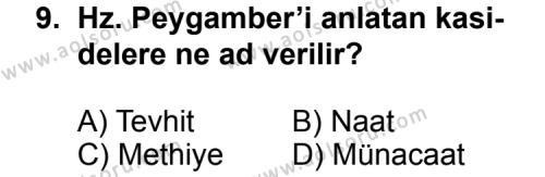 Seçmeli Türk Edebiyatı 4 Dersi 2012-2013 Yılı 1. Dönem Sınavı 9. Soru