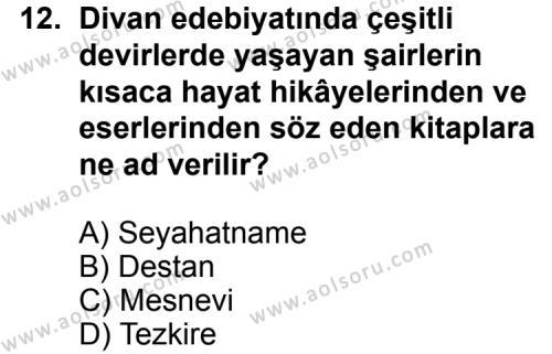 Seçmeli Türk Edebiyatı 4 Dersi 2013-2014 Yılı 1. Dönem Sınavı 12. Soru