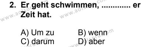 Seçmeli Yabancı Dil Almanca 5 Dersi 2013 - 2014 Yılı 3. Dönem Sınav Soruları 2. Soru