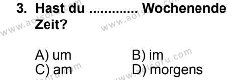 Seçmeli Yabancı Dil Almanca 5 Dersi 2013 - 2014 Yılı 3. Dönem Sınav Soruları 3. Soru