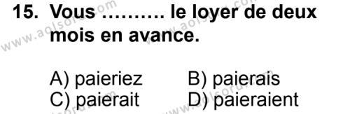 Seçmeli Yabancı Dil Fransızca 4 Dersi 2012-2013 Yılı 1. Dönem Sınavı 15. Soru