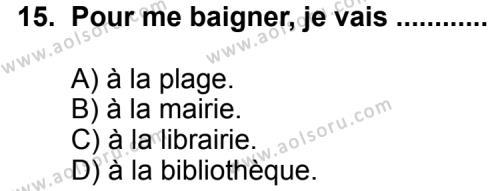 Seçmeli Yabancı Dil Fransızca 5 Dersi 2011-2012 Yılı 1. Dönem Sınavı 15. Soru