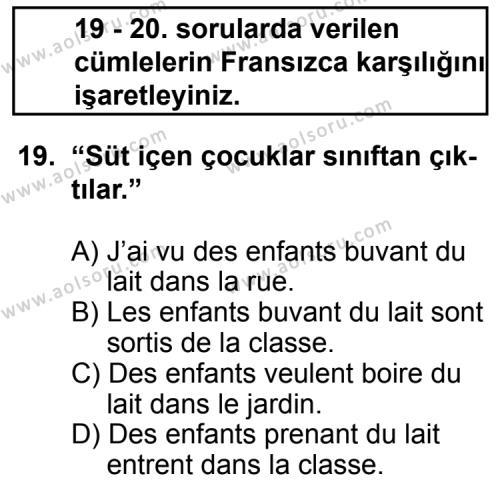 Seçmeli Yabancı Dil Fransızca 5 Dersi 2011-2012 Yılı 1. Dönem Sınavı 19. Soru