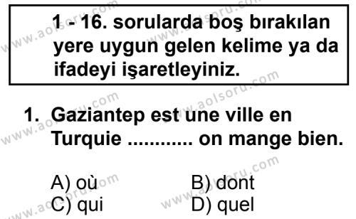Seçmeli Yabancı Dil Fransızca 5 Dersi 2013 - 2014 Yılı 3. Dönem Sınav Soruları 1. Soru