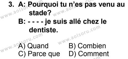 Seçmeli Yabancı Dil Fransızca 7 Dersi 2014 - 2015 Yılı 3. Dönem Sınav Soruları 3. Soru