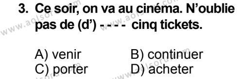 Seçmeli Yabancı Dil Fransızca 8 Dersi 2014 - 2015 Yılı 3. Dönem Sınav Soruları 3. Soru