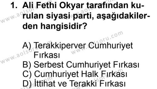 T.C. İnklap Tarihi ve Atatürkçülük 2 Dersi 2011 - 2012 Yılı Ek Sınav Soruları 1. Soru