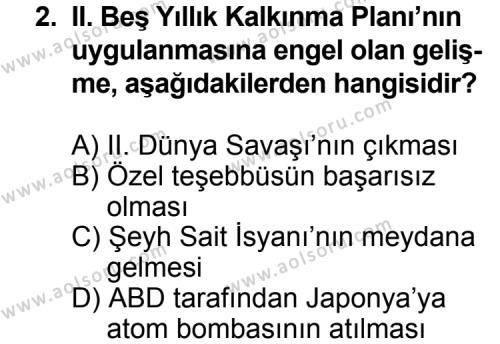 T.C. İnklap Tarihi ve Atatürkçülük 2 Dersi 2011 - 2012 Yılı Ek Sınav Soruları 2. Soru