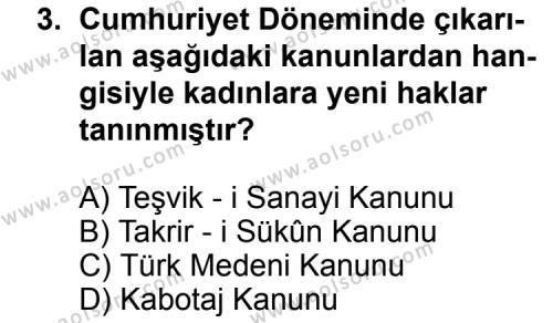 T.C. İnklap Tarihi ve Atatürkçülük 2 Dersi 2011 - 2012 Yılı Ek Sınav Soruları 3. Soru