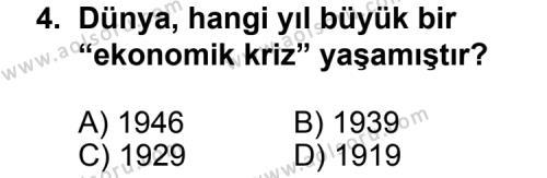 T.C. İnklap Tarihi ve Atatürkçülük 2 Dersi 2011 - 2012 Yılı Ek Sınav Soruları 4. Soru
