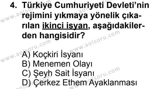 T.C. İnklap Tarihi ve Atatürkçülük 2 Dersi 2013 - 2014 Yılı 3. Dönem Sınav Soruları 4. Soru