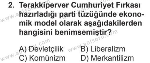 T.C. İnklap Tarihi ve Atatürkçülük 2 Dersi 2018 - 2019 Yılı 2. Dönem Sınavı 2. Soru