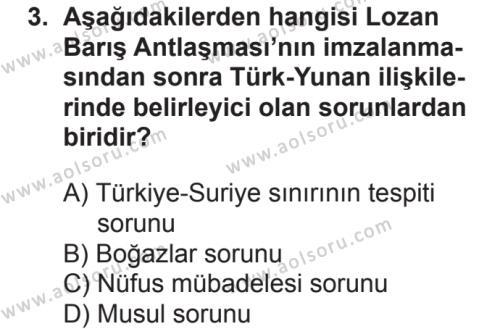 T.C. İnklap Tarihi ve Atatürkçülük 2 Dersi 2018 - 2019 Yılı 2. Dönem Sınavı 3. Soru