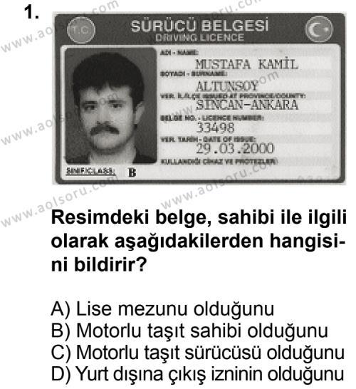 Trafik ve İlk Yardım 2 Dersi 2011 - 2012 Yılı Ek Sınav Soruları 1. Soru