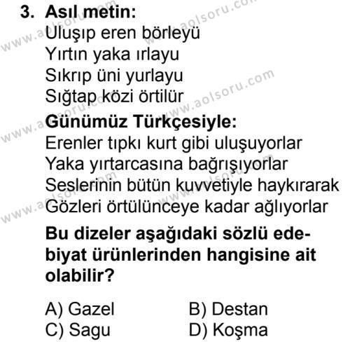 Türk Dili ve Edebiyatı 3 Dersi 2018 - 2019 Yılı Ek Sınav Soruları 3. Soru
