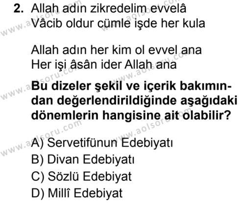 Türk Dili ve Edebiyatı 3 Dersi 2019 - 2020 Yılı 1. Dönem Sınav Soruları 2. Soru