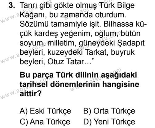 Türk Dili ve Edebiyatı 3 Dersi 2019 - 2020 Yılı 1. Dönem Sınav Soruları 3. Soru