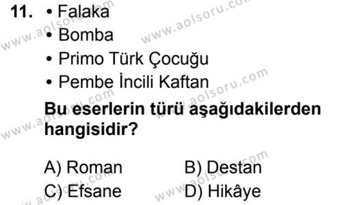Türk Dili ve Edebiyatı 3 Dersi 2019-2020 Yılı 1. Dönem Sınavı 11. Soru