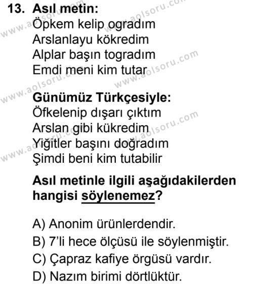 Türk Dili ve Edebiyatı 3 Dersi 2019-2020 Yılı 1. Dönem Sınavı 13. Soru