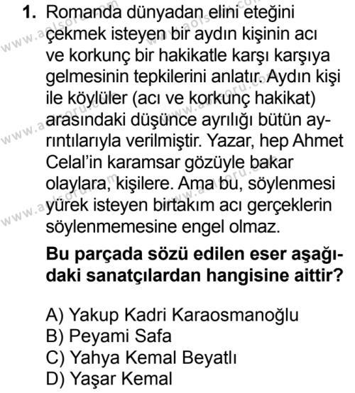 Türk Dili ve Edebiyatı 6 Dersi 2018 - 2019 Yılı Ek Sınav Soruları 1. Soru