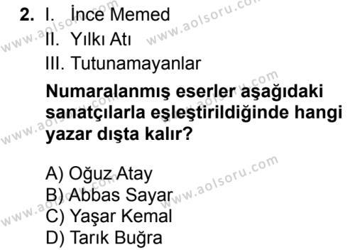 Türk Dili ve Edebiyatı 6 Dersi 2018 - 2019 Yılı Ek Sınav Soruları 2. Soru