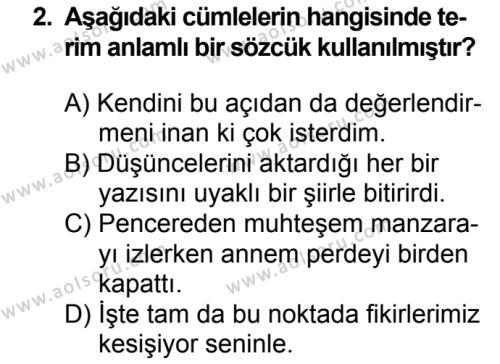 Türk Dili ve Edebiyatı 7 Dersi 2018 - 2019 Yılı 3. Dönem Sınavı 2. Soru