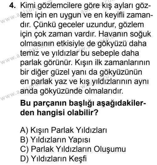 Türk Dili ve Edebiyatı 7 Dersi 2018 - 2019 Yılı 3. Dönem Sınavı 4. Soru