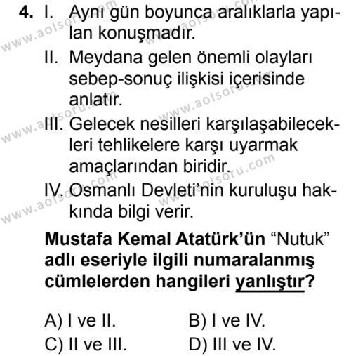 Türk Dili ve Edebiyatı 8 Dersi 2019 - 2020 Yılı 1. Dönem Sınav Soruları 4. Soru