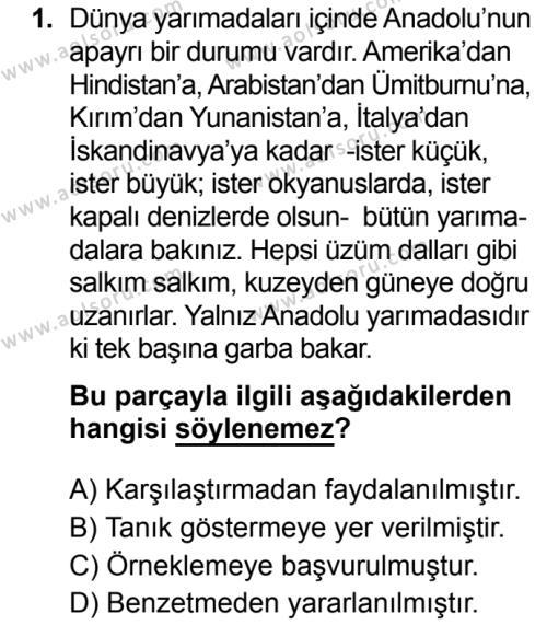 Türk Dili ve Edebiyatı 8 Dersi 2019 - 2020 Yılı 2. Dönem Sınav Soruları 1. Soru