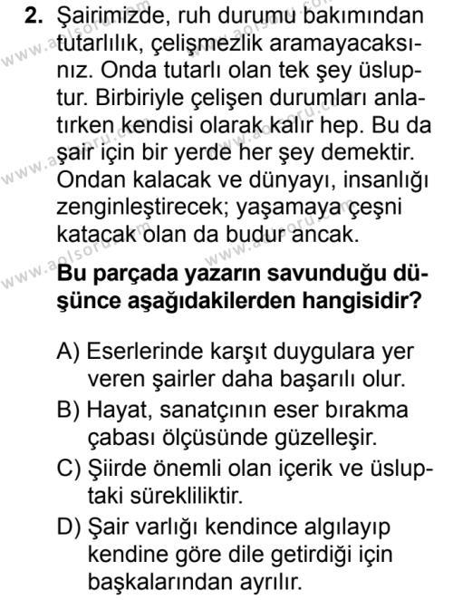 Türk Dili ve Edebiyatı 8 Dersi 2019 - 2020 Yılı 2. Dönem Sınav Soruları 2. Soru