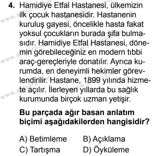 Türk Dili ve Edebiyatı 8 Dersi 2019 - 2020 Yılı 2. Dönem Sınav Soruları 4. Soru