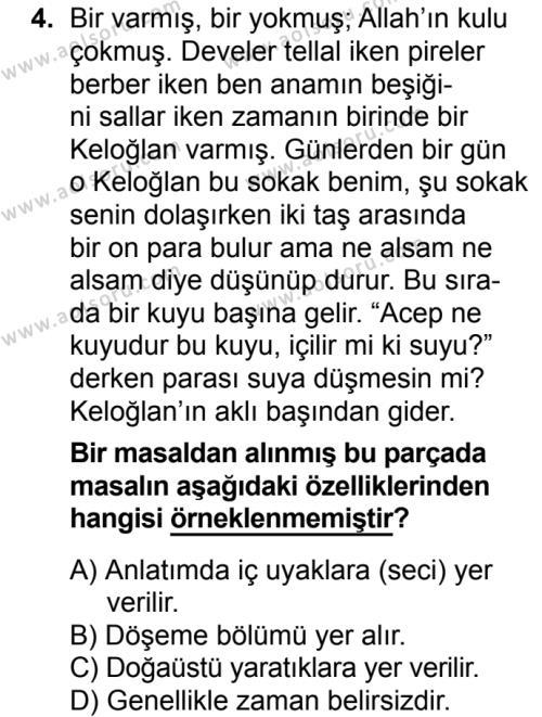 Türk Edebiyatı 2 Dersi 2016-2017 Yılı 1. Dönem Sınavı 4. Soru