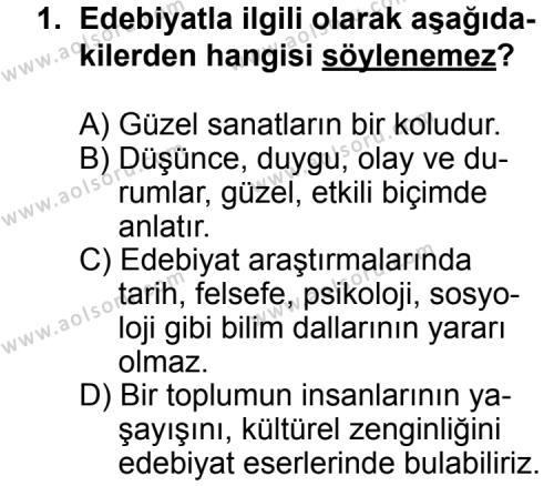 Türk Edebiyatı 3 Dersi 2013 - 2014 Yılı 3. Dönem Sınav Soruları 1. Soru