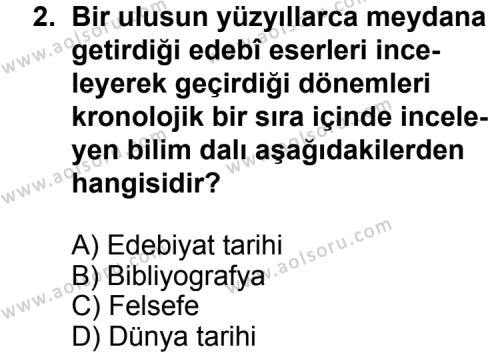 Türk Edebiyatı 3 Dersi 2013 - 2014 Yılı 3. Dönem Sınav Soruları 2. Soru