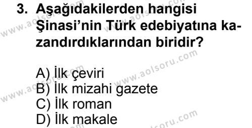 Türk Edebiyatı 5 Dersi 2011 - 2012 Yılı Ek Sınav Soruları 3. Soru