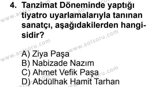 Türk Edebiyatı 5 Dersi 2011 - 2012 Yılı Ek Sınav Soruları 4. Soru