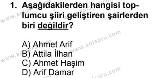 Türk Edebiyatı 7 Dersi 2011 - 2012 Yılı Ek Sınav Soruları 1. Soru