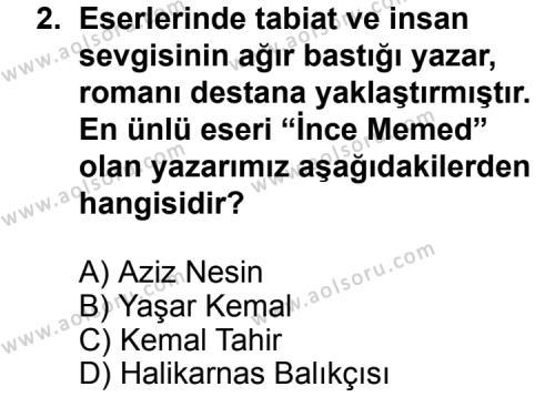 Türk Edebiyatı 7 Dersi 2011 - 2012 Yılı Ek Sınav Soruları 2. Soru