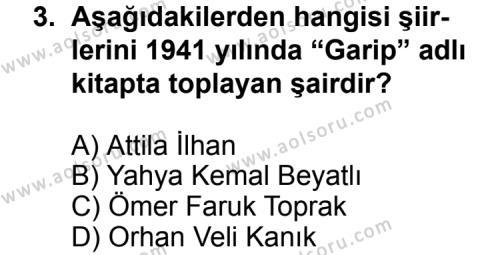 Türk Edebiyatı 7 Dersi 2011 - 2012 Yılı Ek Sınav Soruları 3. Soru