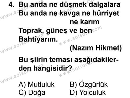 Türk Edebiyatı 7 Dersi 2011 - 2012 Yılı Ek Sınav Soruları 4. Soru